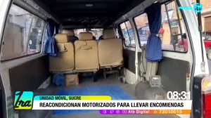 Transportistas interprovinciales de Chuquisaca reacondicionan sus motorizados para llevar encomiendas